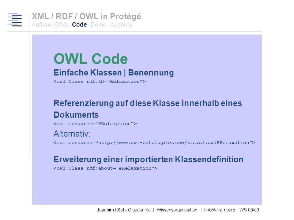 Joachim Köpf - Claudia Irle | Wissensorganisation | HAW-Hamburg | WS 08/09 Exemplarischer Header mit allgemeinen Informationen zur gesamten Ontologie