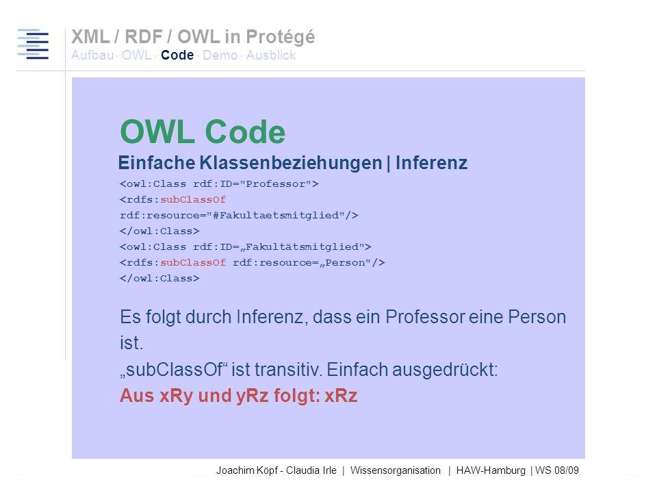 Joachim Köpf - Claudia Irle | Wissensorganisation | HAW-Hamburg | WS 08/09 Fakultätsmitglied ist disjunkt mit Publikation. Es folgt durch Inferenz, da