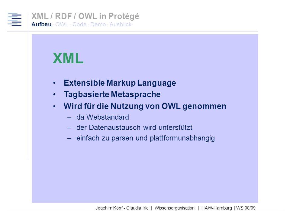 Joachim Köpf - Claudia Irle | Wissensorganisation | HAW-Hamburg | WS 08/09 XML / RDF / OWL in Protégé Aufbau · OWL · Code · Demo · Ausblick