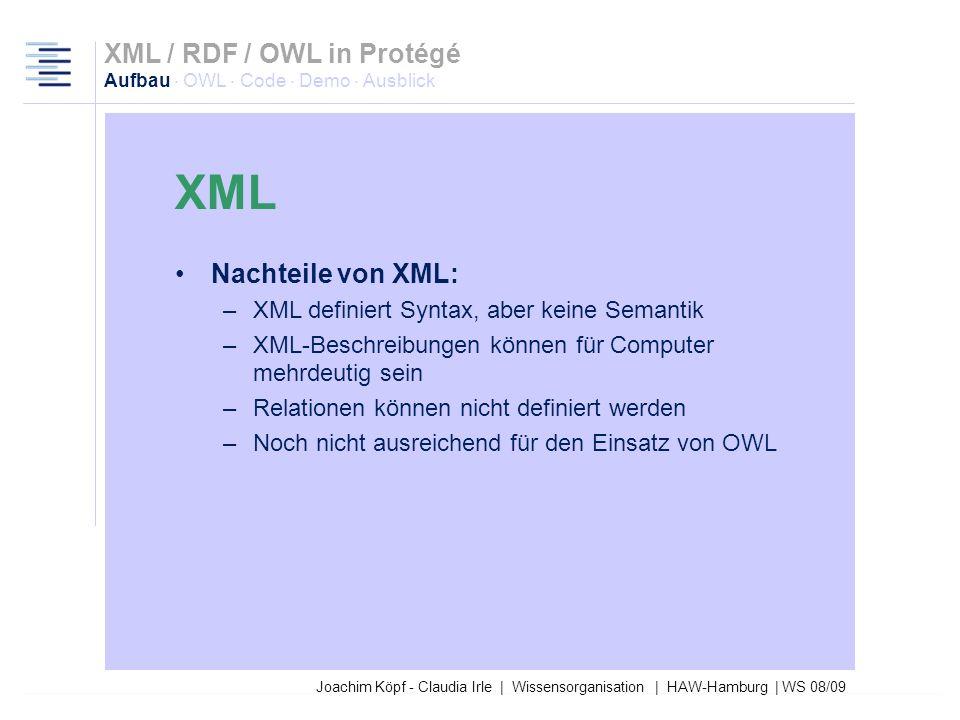 Joachim Köpf - Claudia Irle | Wissensorganisation | HAW-Hamburg | WS 08/09 Extensible Markup Language Tagbasierte Metasprache Wird für die Nutzung von