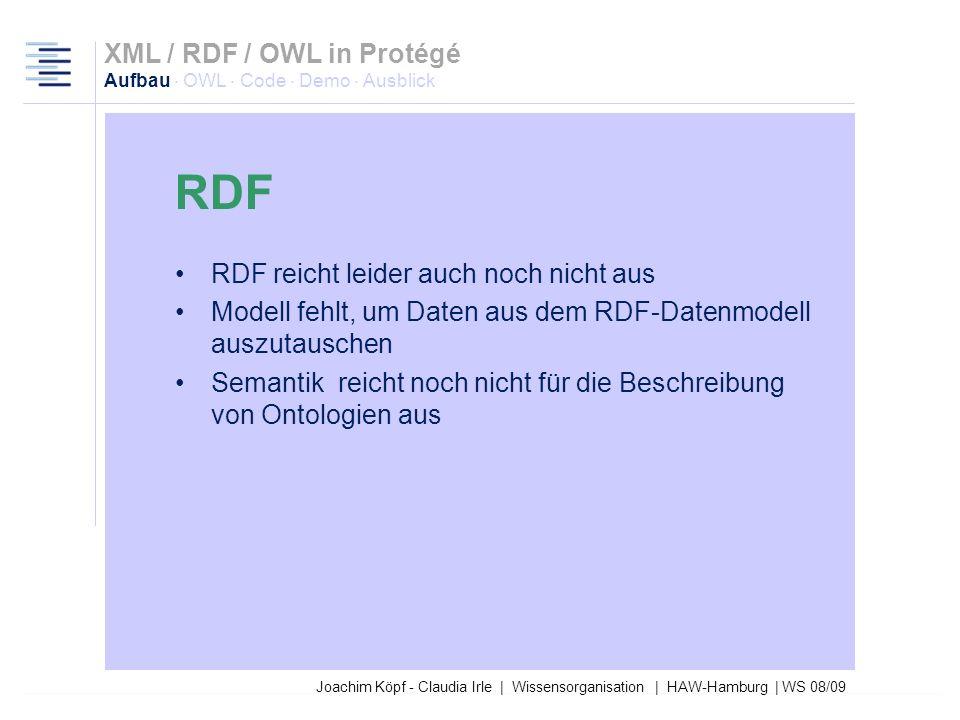Joachim Köpf - Claudia Irle | Wissensorganisation | HAW-Hamburg | WS 08/09 Beschreiben Ressourcen und deren Attribute Bestehen aus Ressource, Eigensch
