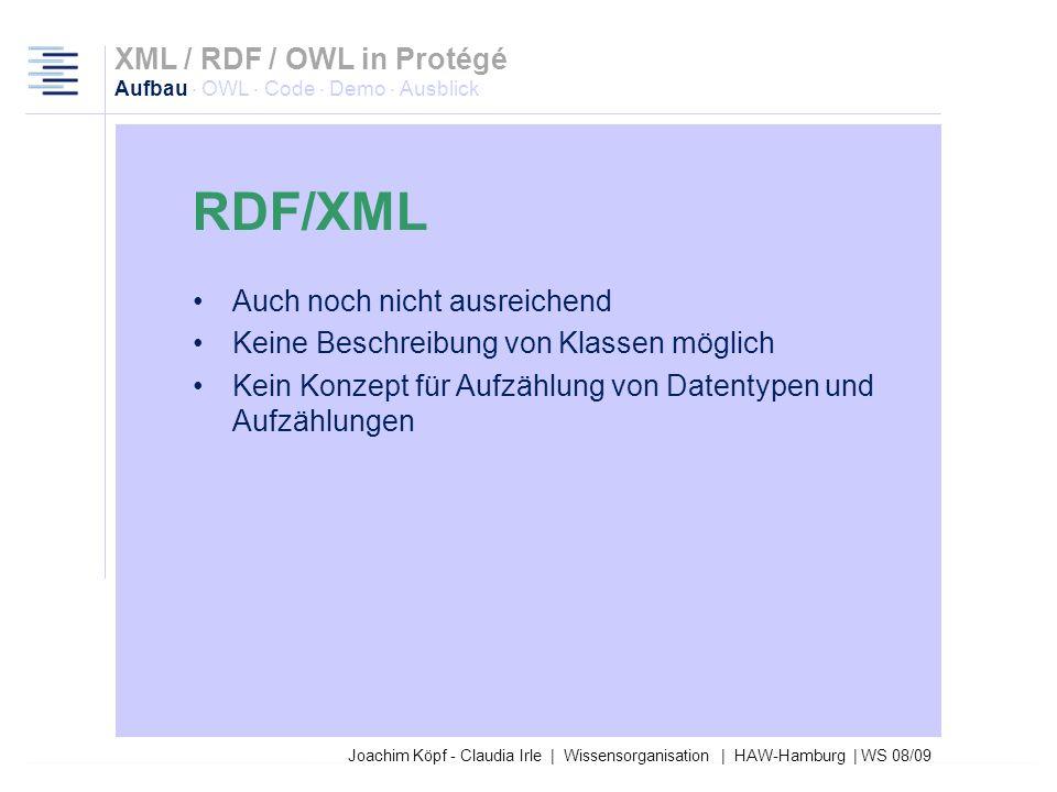 Joachim Köpf - Claudia Irle | Wissensorganisation | HAW-Hamburg | WS 08/09 RDF reicht leider auch noch nicht aus Modell fehlt, um Daten aus dem RDF-Da