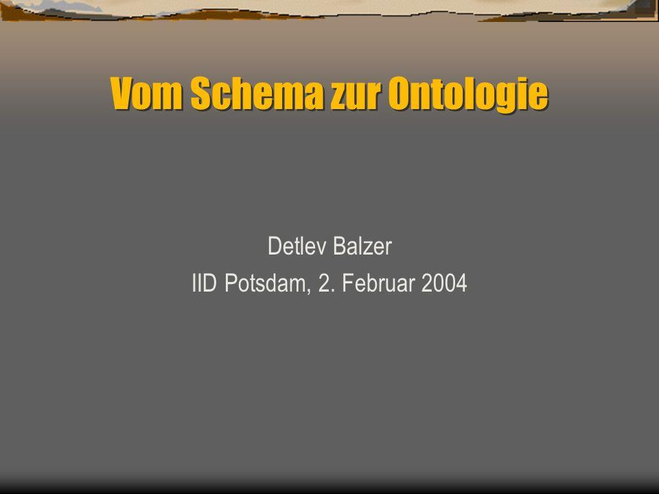 Vom Schema zur Ontologie Detlev Balzer IID Potsdam, 2. Februar 2004
