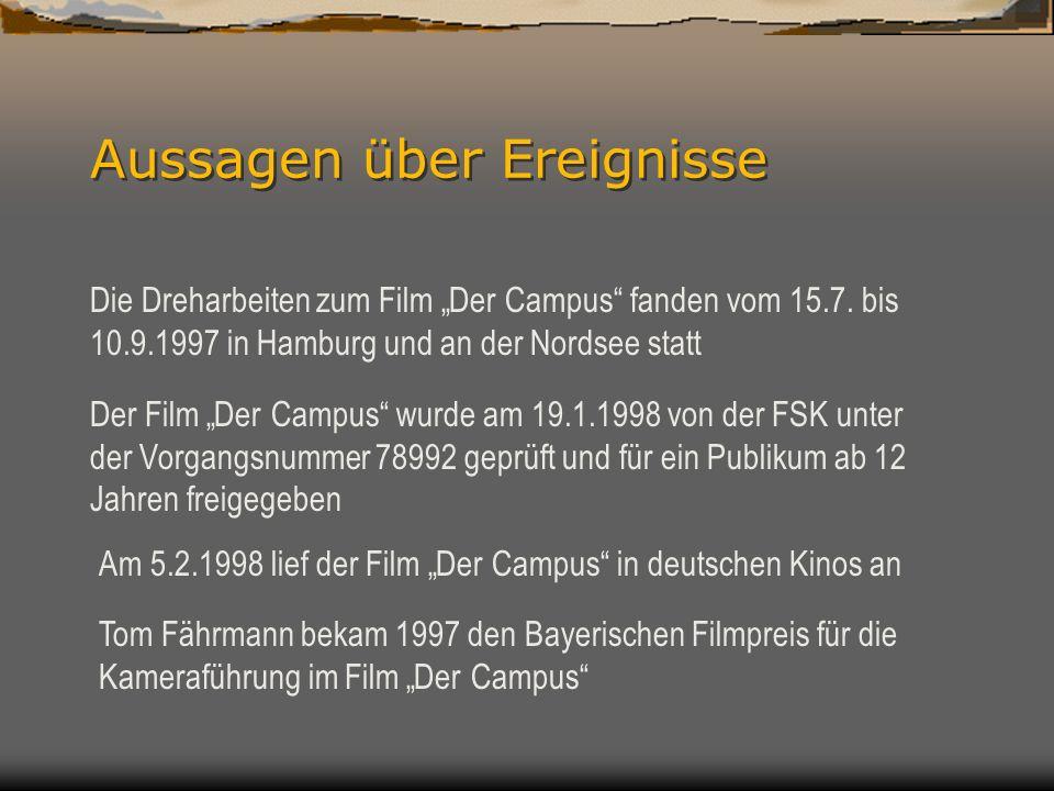Aussagen über Ereignisse Die Dreharbeiten zum Film Der Campus fanden vom 15.7.