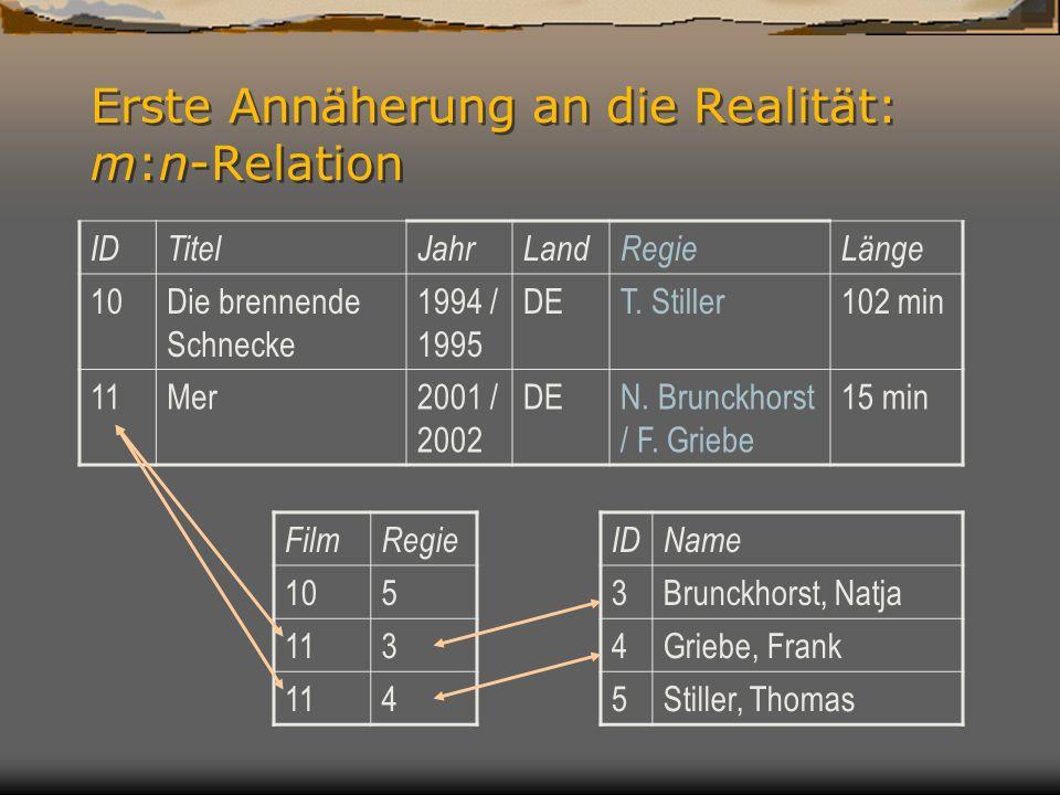 Erste Annäherung an die Realität: m:n-Relation IDTitelJahrLandRegieLänge 10Die brennende Schnecke 1994 / 1995 DET.