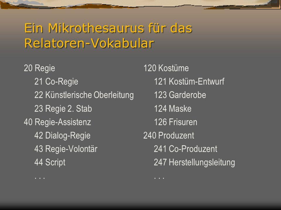 Ein Mikrothesaurus für das Relatoren-Vokabular 20 Regie 21 Co-Regie 22 Künstlerische Oberleitung 23 Regie 2.
