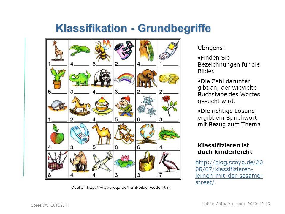 Letzte Aktualisierung: 2010-10-19 Spree WS 2010/2011 Klassifikation - Grundbegriffe Quelle: http://www.roqa.de/html/bilder-code.html Übrigens: Finden