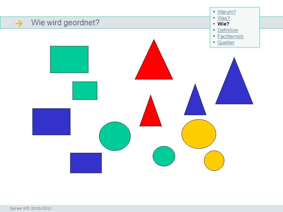 Wie wird geordnet? Merkmale Seminar I-Prax: Inhaltserschließung visueller Medien, 5.10.2004 Spree WS 2010/2011 Warum? Was? Wie? Definition Fachtermini