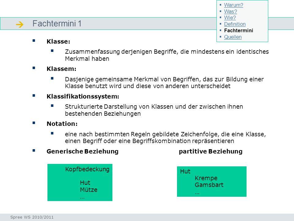 Fachtermini 1 Fachtermini Klasse: Zusammenfassung derjenigen Begriffe, die mindestens ein identisches Merkmal haben Klassem: Dasjenige gemeinsame Merk