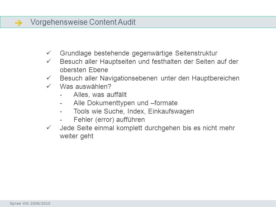 Vorgehensweise Content Audit Vorgehen audit Seminar I-Prax: Inhaltserschließung visueller Medien, 5.10.2004 Spree WS 2009/2010 Grundlage bestehende ge