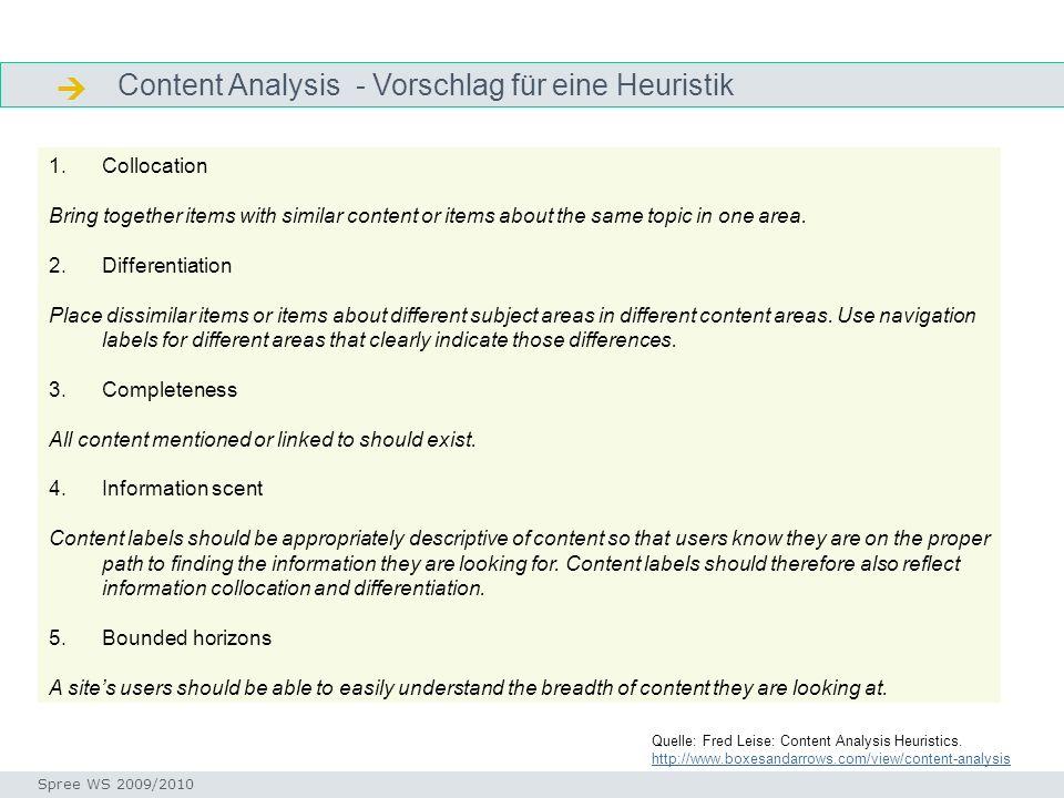 Content Analysis - Vorschlag für eine Heuristik Heuristik content analysis Seminar I-Prax: Inhaltserschließung visueller Medien, 5.10.2004 Spree WS 20