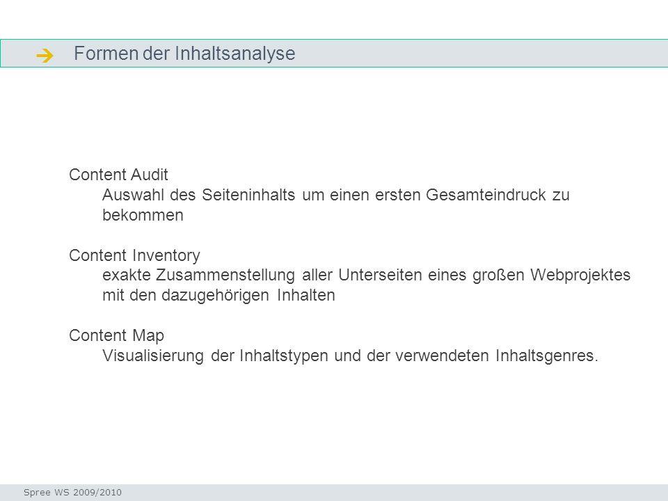 Formen der Inhaltsanalyse Formen Seminar I-Prax: Inhaltserschließung visueller Medien, 5.10.2004 Spree WS 2009/2010 Content Audit Auswahl des Seitenin