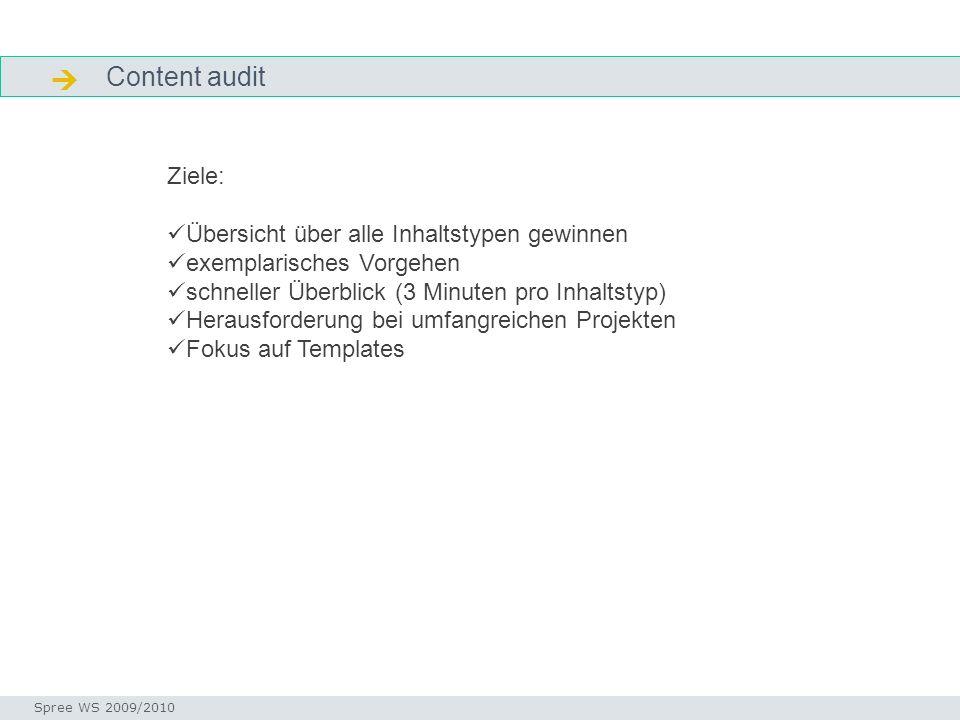 Content audit Content audit Seminar I-Prax: Inhaltserschließung visueller Medien, 5.10.2004 Spree WS 2009/2010 Ziele: Übersicht über alle Inhaltstypen