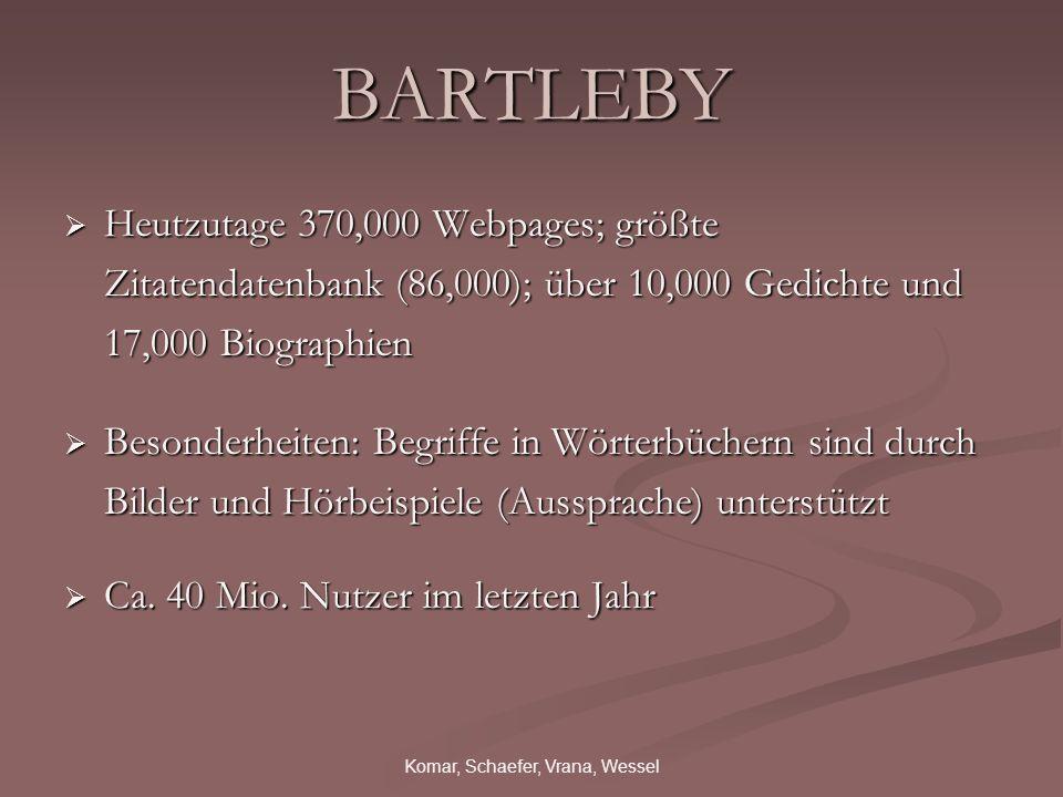 Komar, Schaefer, Vrana, Wessel BARTLEBY Heutzutage 370,000 Webpages; größte Zitatendatenbank (86,000); über 10,000 Gedichte und 17,000 Biographien Heutzutage 370,000 Webpages; größte Zitatendatenbank (86,000); über 10,000 Gedichte und 17,000 Biographien Besonderheiten: Begriffe in Wörterbüchern sind durch Bilder und Hörbeispiele (Aussprache) unterstützt Besonderheiten: Begriffe in Wörterbüchern sind durch Bilder und Hörbeispiele (Aussprache) unterstützt Ca.