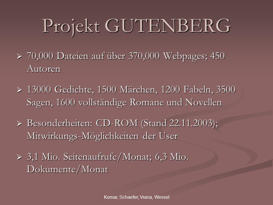 Komar, Schaefer, Vrana, Wessel Projekt GUTENBERG 70,000 Dateien auf über 370,000 Webpages; 450 Autoren 70,000 Dateien auf über 370,000 Webpages; 450 A