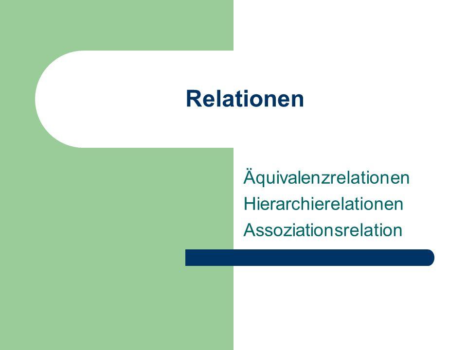 Relationen Äquivalenzrelationen Hierarchierelationen Assoziationsrelation
