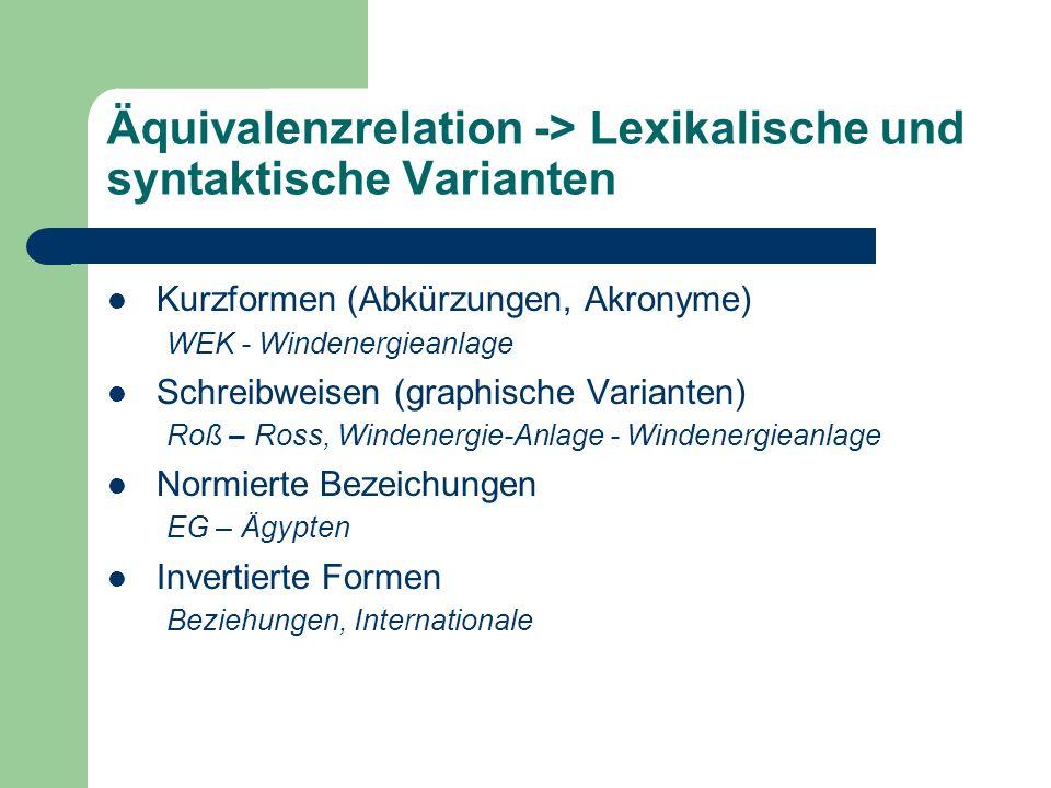 Äquivalenzrelation -> Lexikalische und syntaktische Varianten Kurzformen (Abkürzungen, Akronyme) WEK - Windenergieanlage Schreibweisen (graphische Var