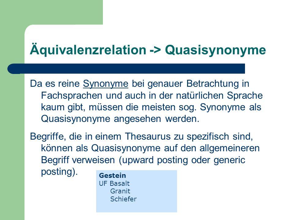 Äquivalenzrelation -> Quasisynonyme Da es reine Synonyme bei genauer Betrachtung in Fachsprachen und auch in der natürlichen Sprache kaum gibt, müssen