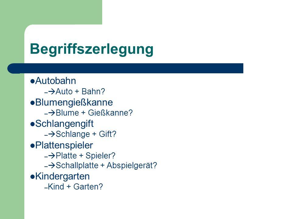Begriffszerlegung Autobahn – Auto + Bahn? Blumengießkanne – Blume + Gießkanne? Schlangengift – Schlange + Gift? Plattenspieler – Platte + Spieler? – S
