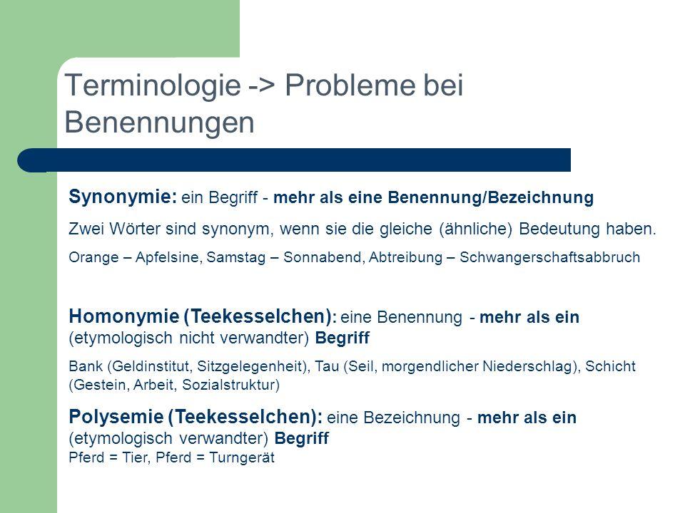 Terminologie -> Probleme bei Benennungen Synonymie: ein Begriff - mehr als eine Benennung/Bezeichnung Zwei Wörter sind synonym, wenn sie die gleiche (