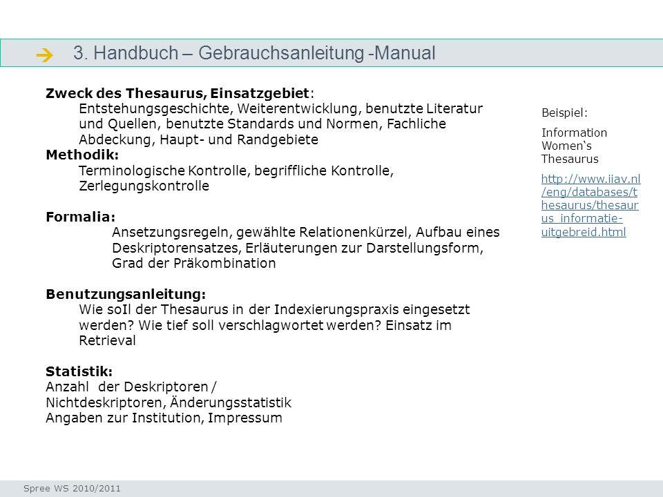 3. Handbuch – Gebrauchsanleitung -Manual Manual Seminar I-Prax: Inhaltserschließung visueller Medien, 5.10.2004 Spree WS 2010/2011 Zweck des Thesaurus