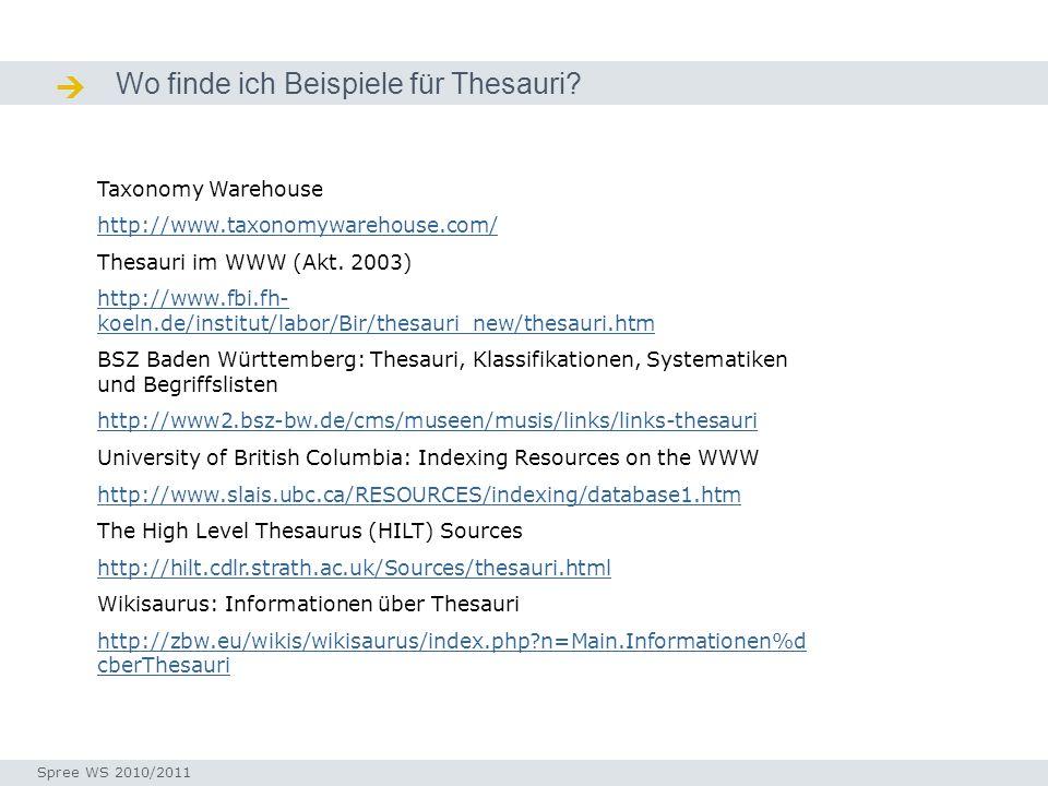 Wo finde ich Beispiele für Thesauri? Quellen / Ressourcen Taxonomy Warehouse http://www.taxonomywarehouse.com/ Thesauri im WWW (Akt. 2003) http://www.