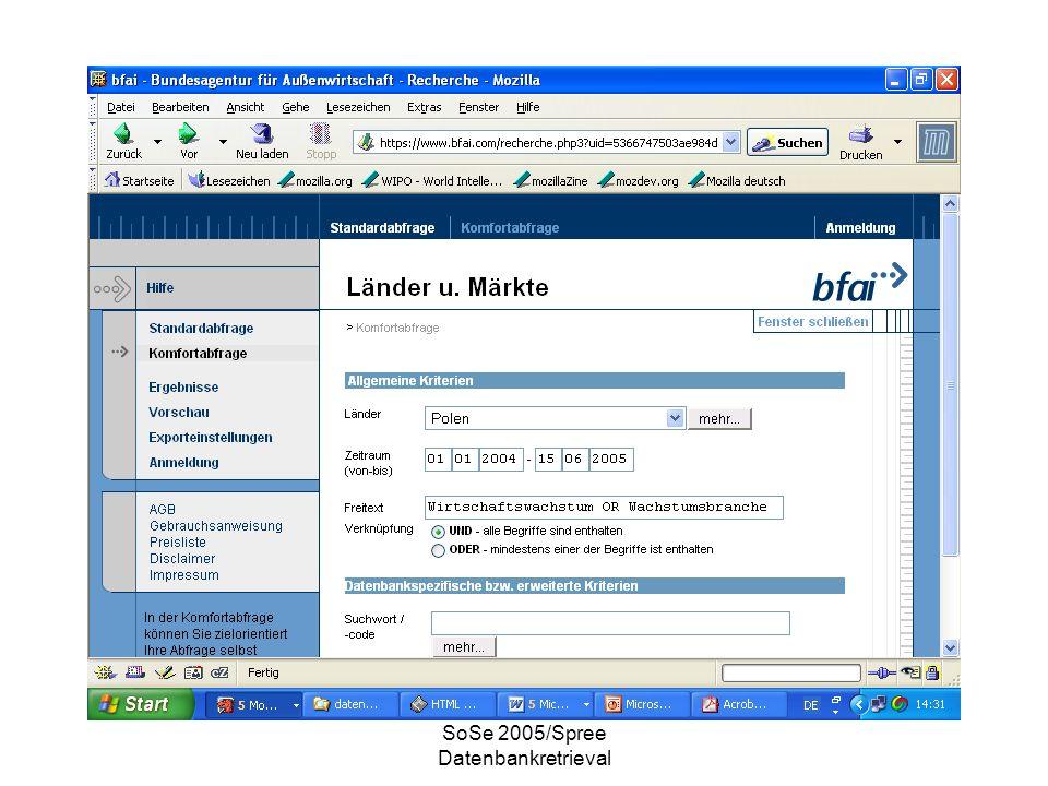 SoSe 2005/Spree Datenbankretrieval