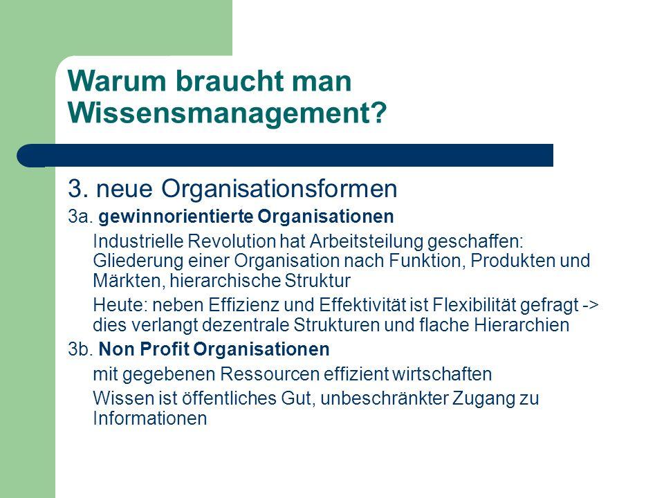 Warum braucht man Wissensmanagement? 3. neue Organisationsformen 3a. gewinnorientierte Organisationen Industrielle Revolution hat Arbeitsteilung gesch