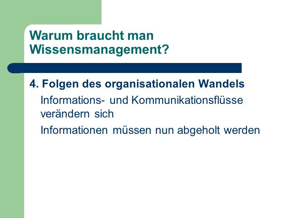 Warum braucht man Wissensmanagement? 4. Folgen des organisationalen Wandels Informations- und Kommunikationsflüsse verändern sich Informationen müssen