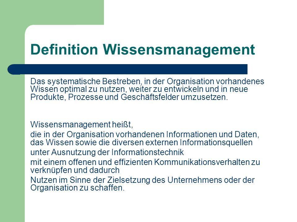 Definition Wissensmanagement Das systematische Bestreben, in der Organisation vorhandenes Wissen optimal zu nutzen, weiter zu entwickeln und in neue P