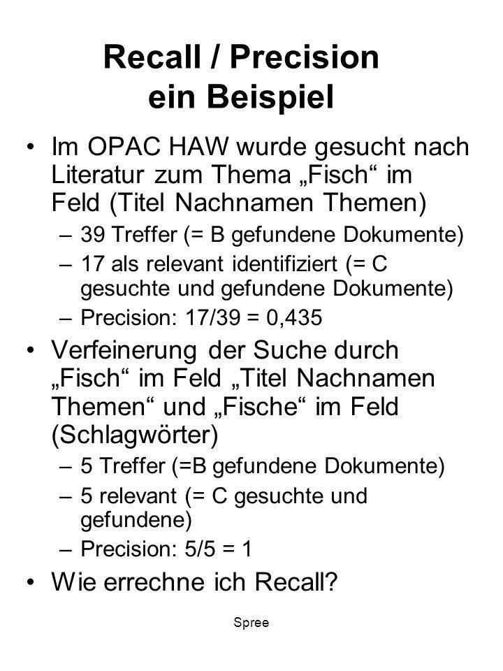 Spree Recall / Precision ein Beispiel Im OPAC HAW wurde gesucht nach Literatur zum Thema Fisch im Feld (Titel Nachnamen Themen) –39 Treffer (= B gefun