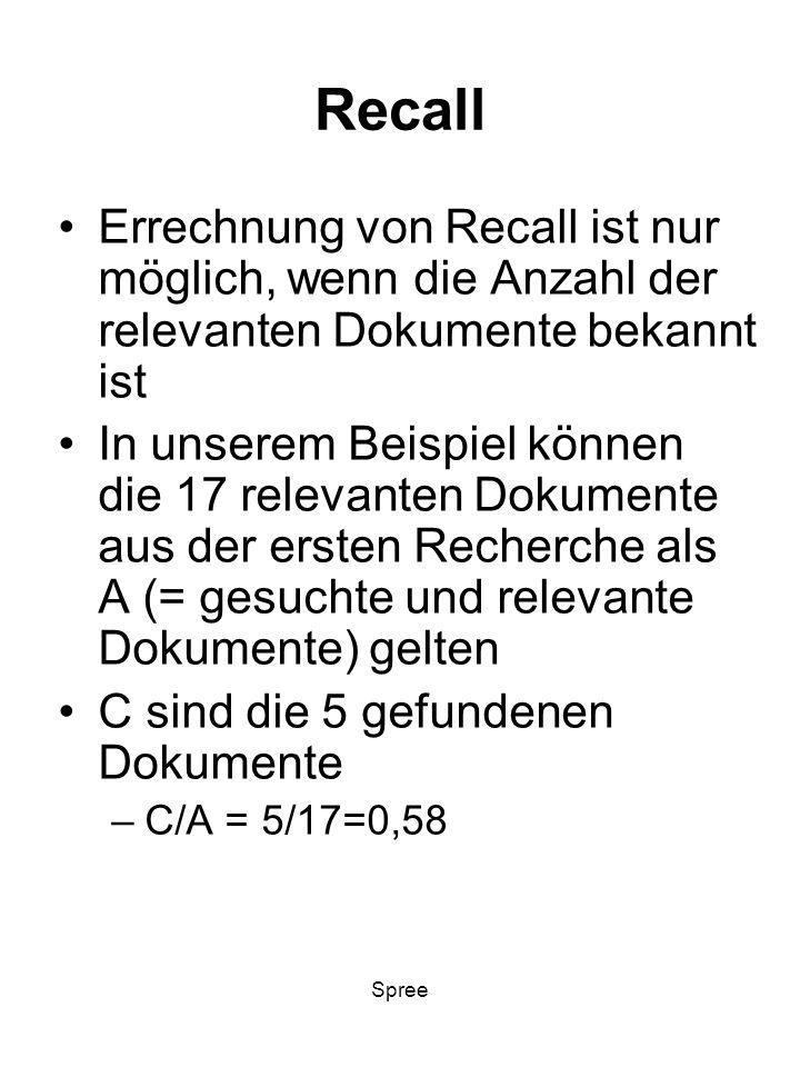 Spree Recall Errechnung von Recall ist nur möglich, wenn die Anzahl der relevanten Dokumente bekannt ist In unserem Beispiel können die 17 relevanten