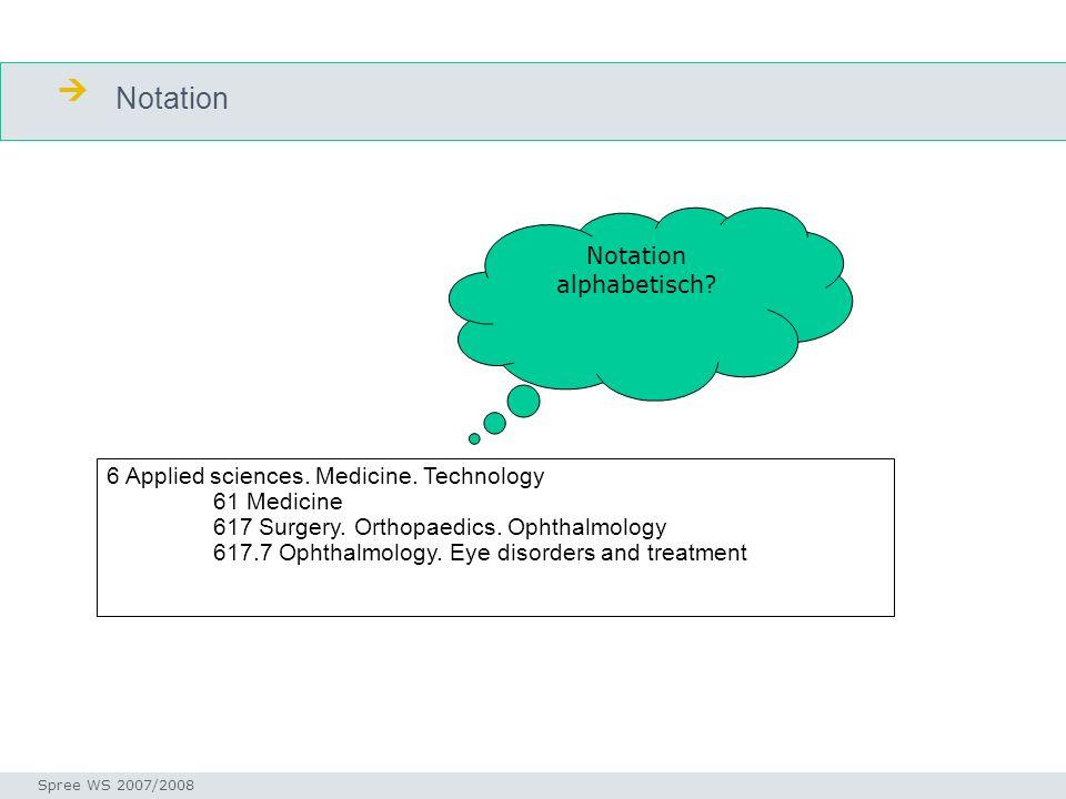 Notation Seminar I-Prax: Inhaltserschließung visueller Medien, 5.10.2004 Spree WS 2007/2008 6 Applied sciences. Medicine. Technology 61 Medicine 617 S