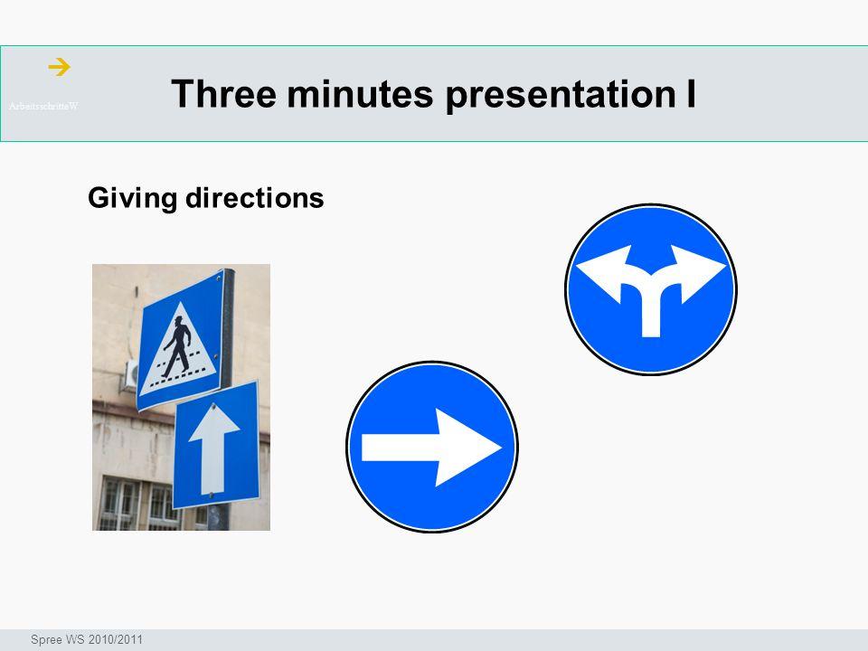 Three minutes presentation I ArbeitsschritteW Seminar I-Prax: Inhaltserschließung visueller Medien, 5.10.2004 Spree WS 2010/2011 Giving directions
