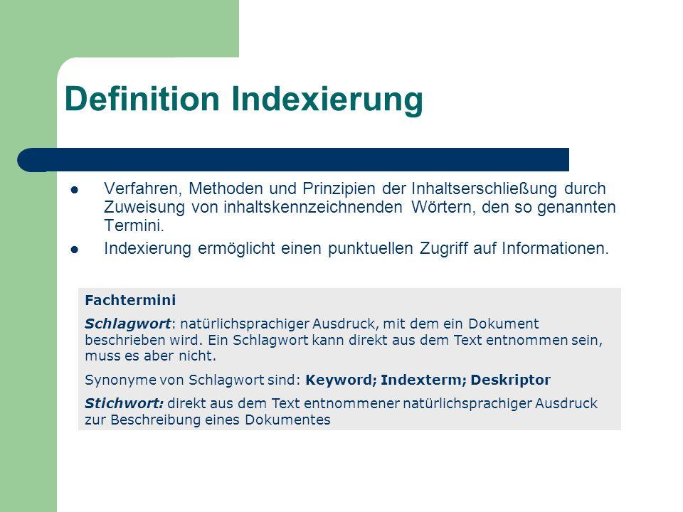 Definition Indexierung Verfahren, Methoden und Prinzipien der Inhaltserschließung durch Zuweisung von inhaltskennzeichnenden Wörtern, den so genannten