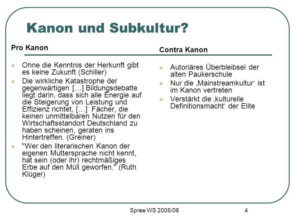 Spree WS 2005/06 4 Kanon und Subkultur? Pro Kanon Ohne die Kenntnis der Herkunft gibt es keine Zukunft (Schiller) Die wirkliche Katastrophe der gegenw