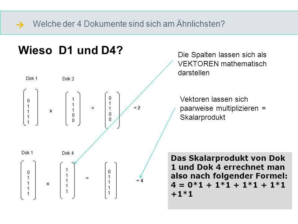 Welche der 4 Dokumente sind sich am Ähnlichsten. Wieso D1 und D4.