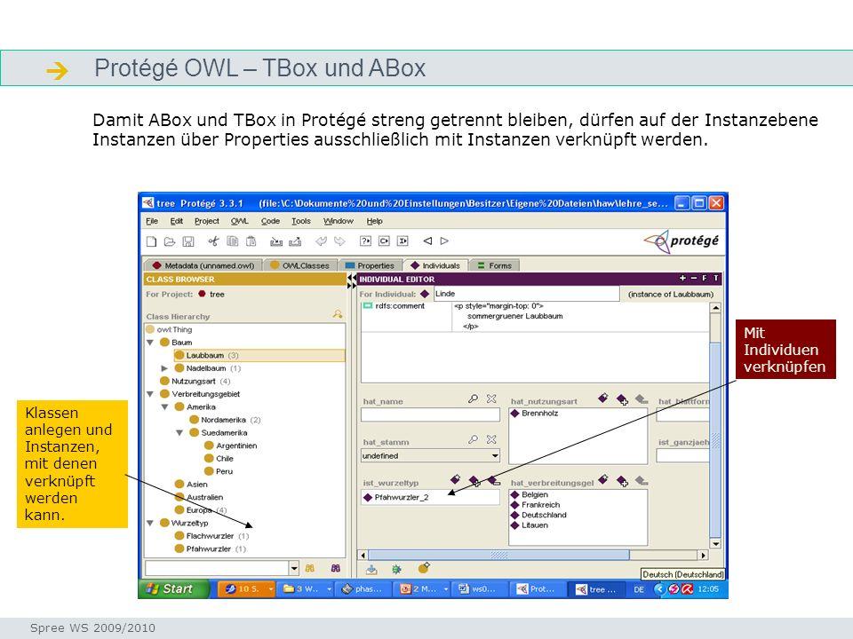 Protégé OWL – TBox und ABox tboxabox Seminar I-Prax: Inhaltserschließung visueller Medien, 5.10.2004 Spree WS 2009/2010 Damit ABox und TBox in Protégé streng getrennt bleiben, dürfen auf der Instanzebene Instanzen über Properties ausschließlich mit Instanzen verknüpft werden.
