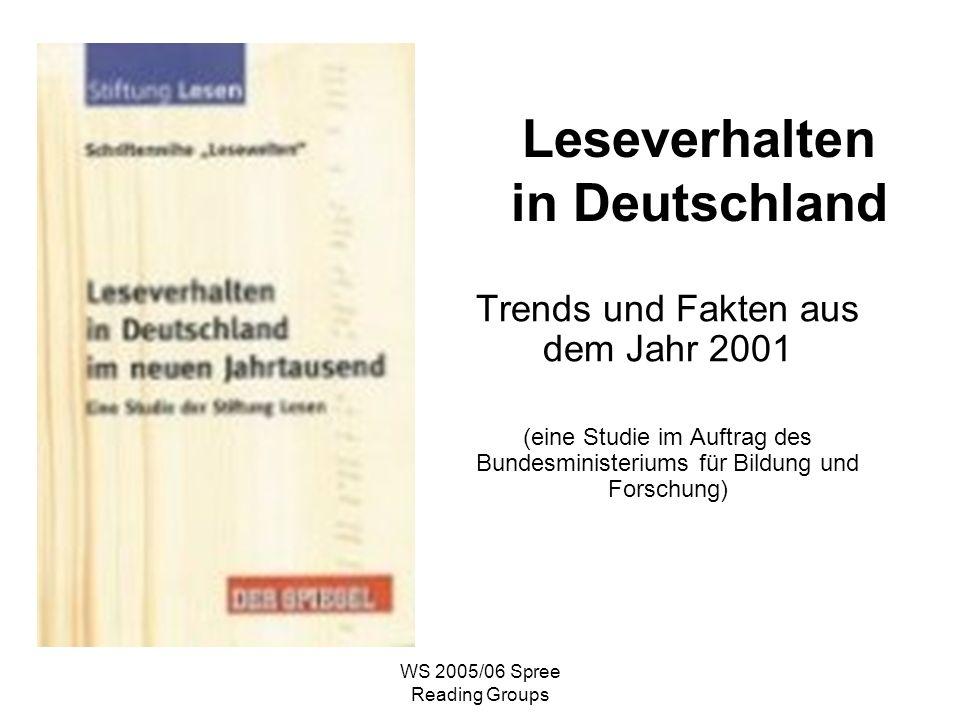 WS 2005/06 Spree Reading Groups Leseverhalten in Deutschland Trends und Fakten aus dem Jahr 2001 (eine Studie im Auftrag des Bundesministeriums für Bildung und Forschung)