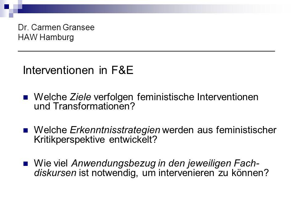 Dr. Carmen Gransee HAW Hamburg ________________________________________________________ Interventionen in F&E Welche Ziele verfolgen feministische Int