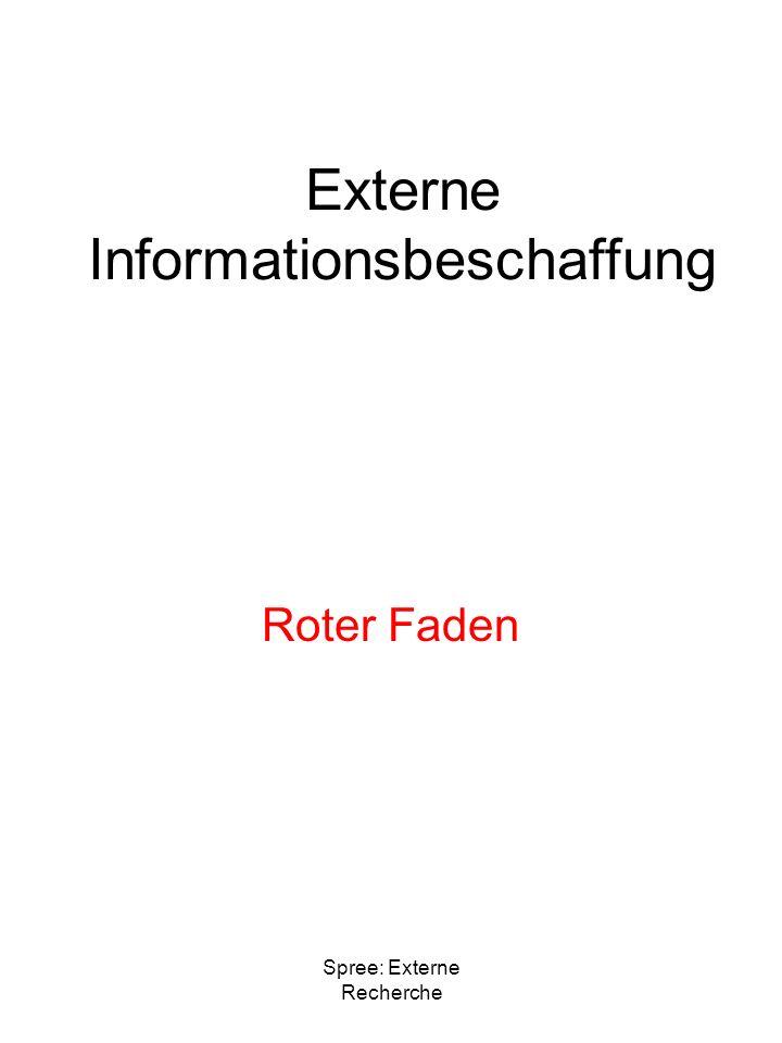Spree: Externe Recherche Externe Informationsbeschaffung Roter Faden