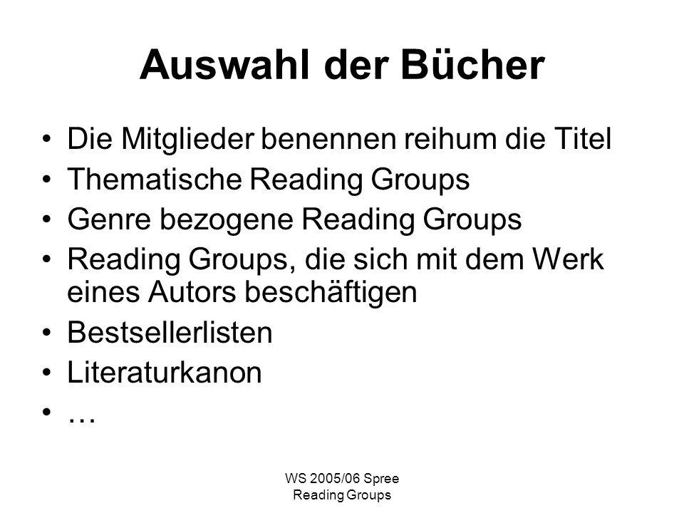 WS 2005/06 Spree Reading Groups Auswahl der Bücher Die Mitglieder benennen reihum die Titel Thematische Reading Groups Genre bezogene Reading Groups Reading Groups, die sich mit dem Werk eines Autors beschäftigen Bestsellerlisten Literaturkanon …