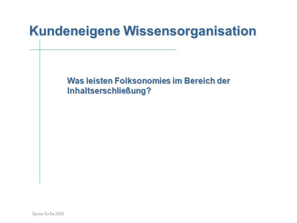 Spree SoSe 2009 Kundeneigene Wissensorganisation Kundeneigene Wissensorganisation Einstieg Was leisten Folksonomies im Bereich der Inhaltserschließung