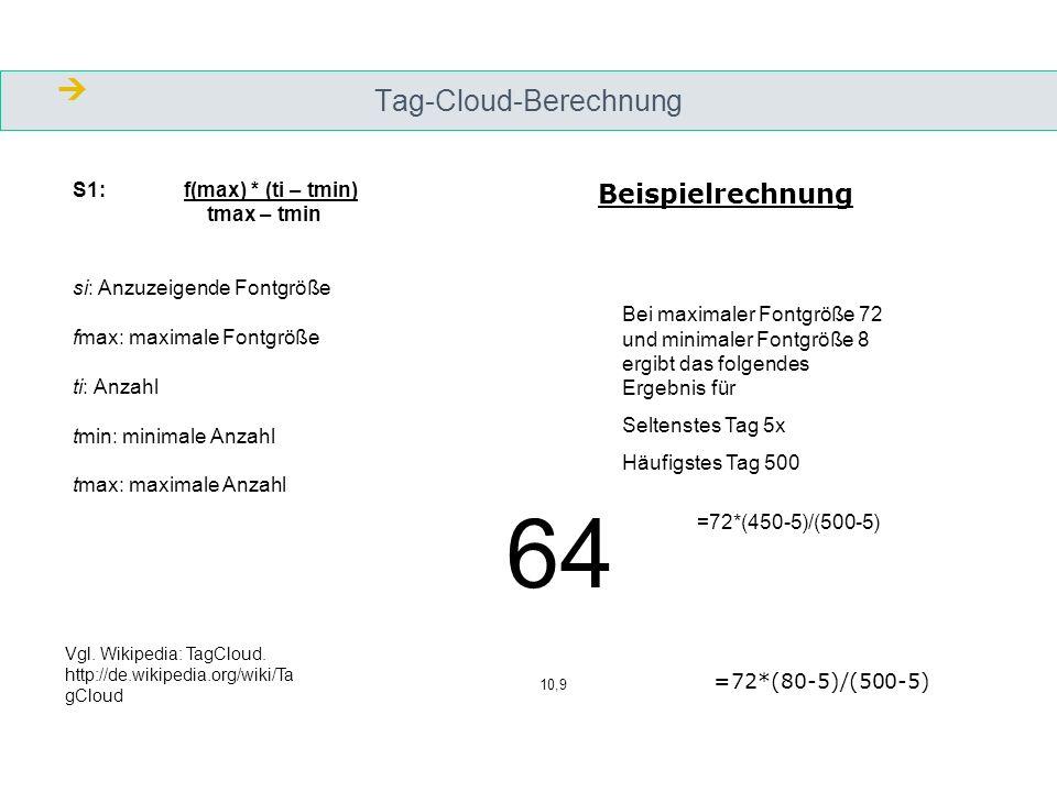 Tag-Cloud-Berechnung S1: f(max) * (ti – tmin) tmax – tmin si: Anzuzeigende Fontgröße fmax: maximale Fontgröße ti: Anzahl tmin: minimale Anzahl tmax: maximale Anzahl =72*(450-5)/(500-5) Bei maximaler Fontgröße 72 und minimaler Fontgröße 8 ergibt das folgendes Ergebnis für Seltenstes Tag 5x Häufigstes Tag 500 =72*(80-5)/(500-5) 64 10,9 Beispielrechnung Vgl.