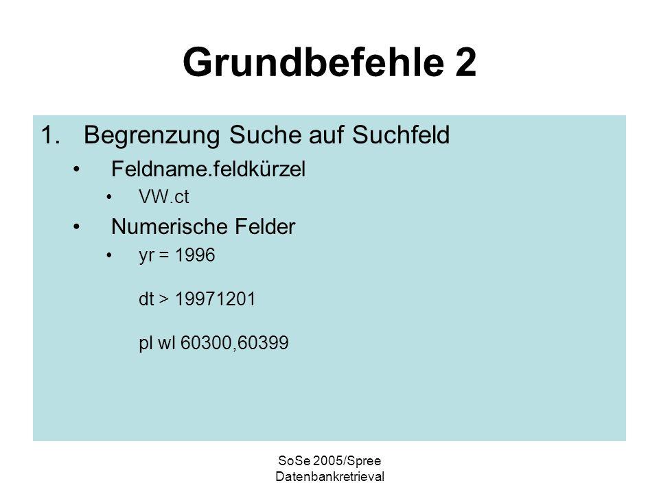 SoSe 2005/Spree Datenbankretrieval Grundbefehle 3 1.Ausgabe der Dokumente..p od...ph..p 1-5/free/3..ph 1,2,28/Ti,CT,SO/3 DokumenteFormatSuchschritt Hebt Suchworte im Text hervor