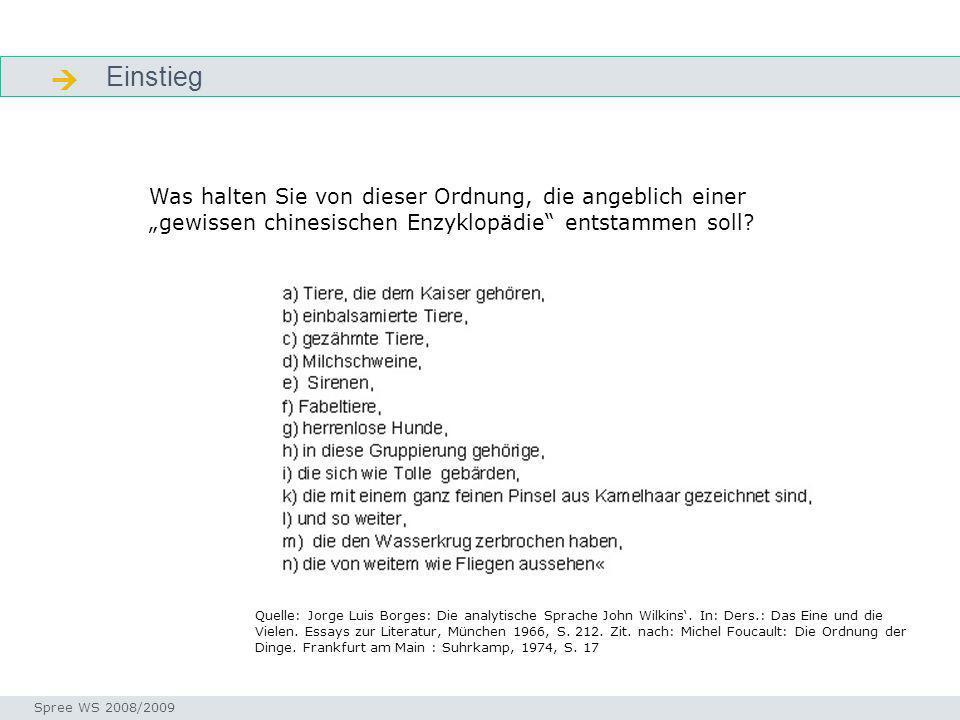Einstieg Einstieg Seminar I-Prax: Inhaltserschließung visueller Medien, 5.10.2004 Spree WS 2008/2009 Quelle: Jorge Luis Borges: Die analytische Sprach