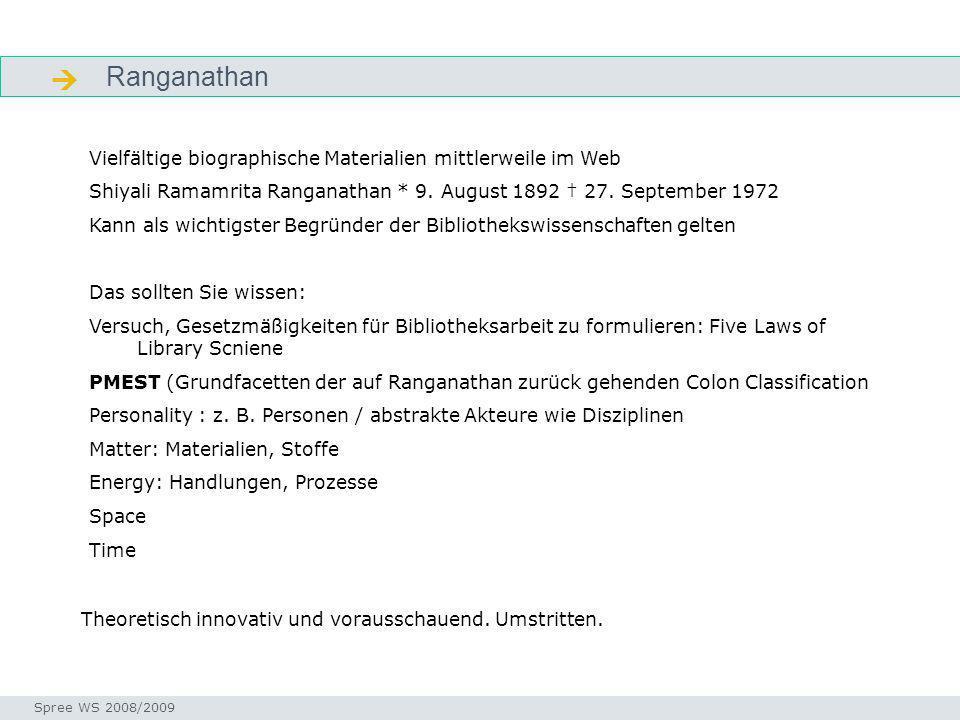 Ranganathan Gliederung Seminar I-Prax: Inhaltserschließung visueller Medien, 5.10.2004 Spree WS 2008/2009 Vielfältige biographische Materialien mittle