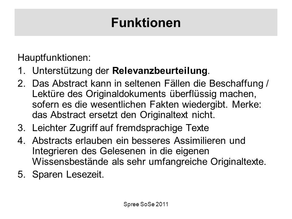 Spree SoSe 2011 Funktionen Hauptfunktionen: 1.Unterstützung der Relevanzbeurteilung. 2.Das Abstract kann in seltenen Fällen die Beschaffung / Lektüre