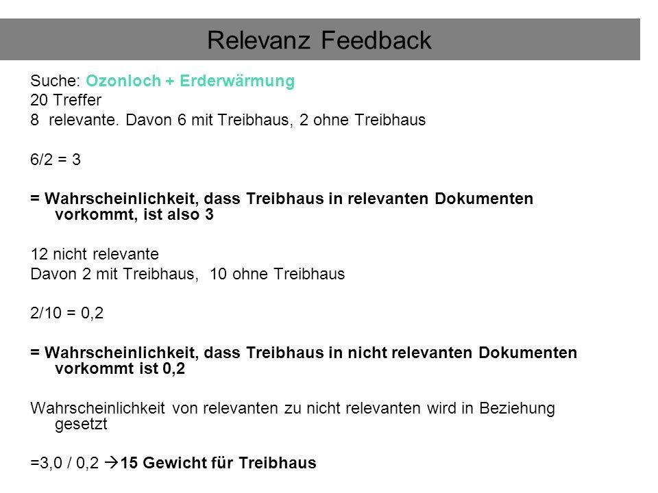 Relevanz Feedback Suche: Ozonloch + Erderwärmung 20 Treffer 8 relevante.
