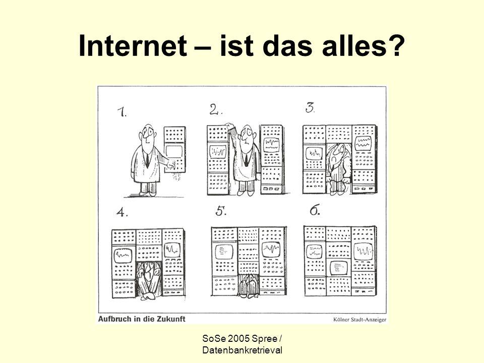 SoSe 2005 Spree / Datenbankretrieval Internet – ist das alles